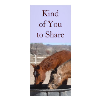 Cute Sharing is Fun Horse Western Bookmarks Rack Card