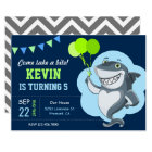 Cute Shark Kids Birthday Party Invitation