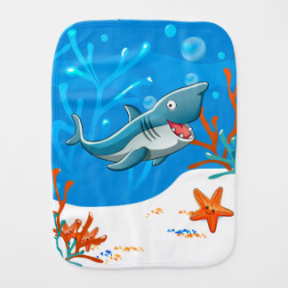 Cute Shark Ocean Baby Burp Burp Cloth
