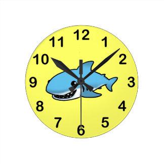 Cute shark round clock