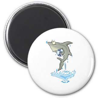 cute shark with ball 6 cm round magnet