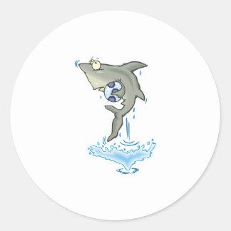 cute shark with ball round sticker