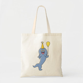Cute Shark with Birthday Balloon Tote Bags