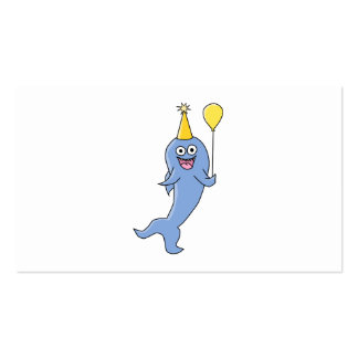 Cute Shark with Birthday Balloon. Pack Of Standard Business Cards