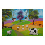 Cute sheep and cow folk painting by Gordon Bruce Poster