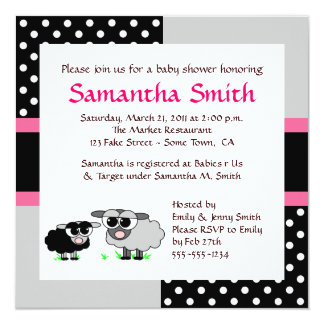 Cute Sheep Baby Shower Invitation Pink Black Grey