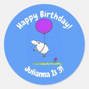 Cute sheep balloon cartoon humor illustration classic round sticker