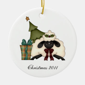 Cute Sheep Christmas Tree From Our House To Yours Round Ceramic Decoration