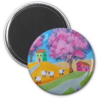Cute sheep colorful folk art picture 6 cm round magnet