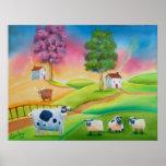 Cute sheep cows folk art naive painting G Bruce
