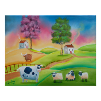 Cute sheep cows folk art naive painting G Bruce Poster
