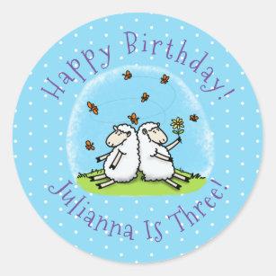 Cute sheep friends and butterflies cartoon classic round sticker