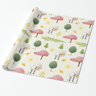 Cute Sheep green alligator and trees kids Wrapping Paper
