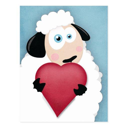 Cute Sheep Holding Love Heart Postcards