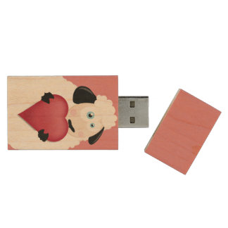 Cute Sheep Holding Love Heart Wood USB 2.0 Flash Drive