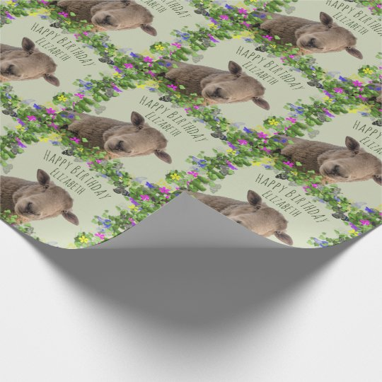 Cute Sheep in Floral Frame Personalised Wrapping Paper