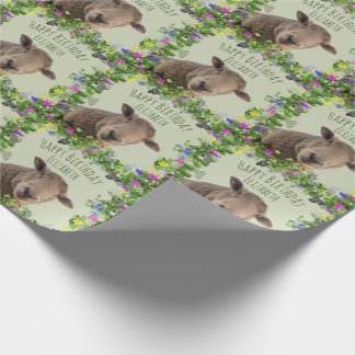 Cute Sheep in Floral Frame Personalized Wrapping Paper