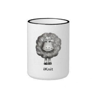 Cute Sheep in Pencil: Gift for Knitter Ringer Mug