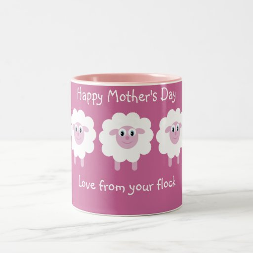 Cute Sheep Love From Your Flock Pink Mother´s Day Coffee Mugs