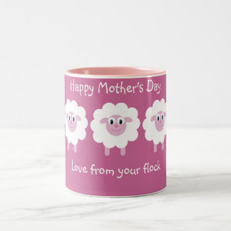 Cute Sheep Love From Your Flock Pink Mother´s Day Two-Tone Coffee Mug