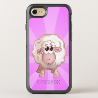 Cute Sheep Over Pink Background and White Stripes OtterBox Symmetry iPhone 8/7 Case