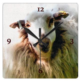 CUTE SHEEP SQUARE WALL CLOCK
