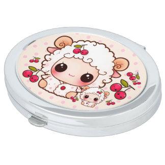 Cute sheep with kawaii cherries travel mirror