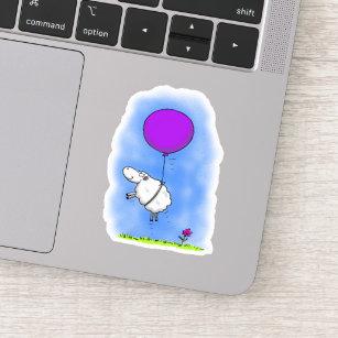 Cute sheep with purple balloon whimsical cartoon