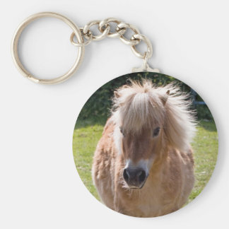 Cute shetland pony head close-up keychain gift