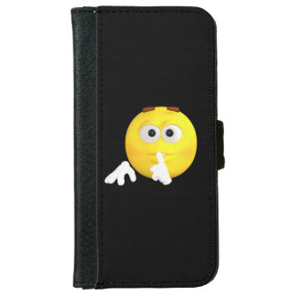 Cute Shhh I'm on the Phone Emoji iPhone 6 Wallet Case