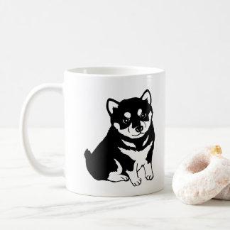 Cute Shiba Inu Puppy Dog Silhouette Coffee Mug