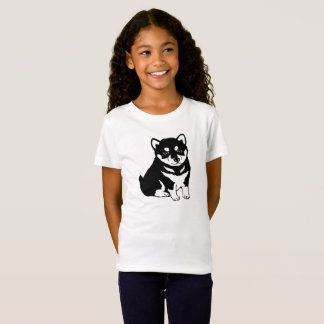 Cute Shiba Inu Puppy Dog Silhouette Girl's T-Shirt