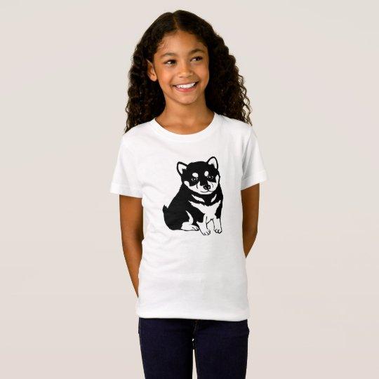 Cute Shiba Inu Puppy Dog Silhouette Girl's T-Shirt