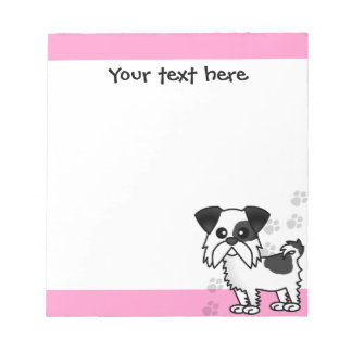 Cute Shih Tzu Black and White  - Pink Notepad