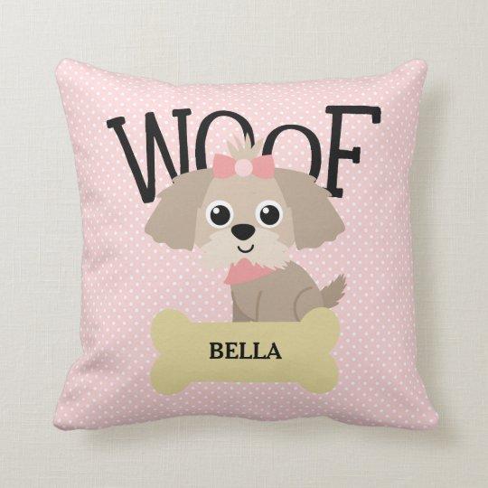 Cute Shih Tzu Puppy Dog on Pink Polka