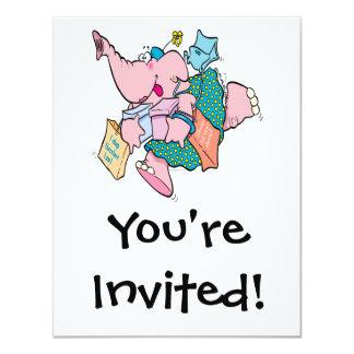cute shopaholic shopping elephant 11 cm x 14 cm invitation card