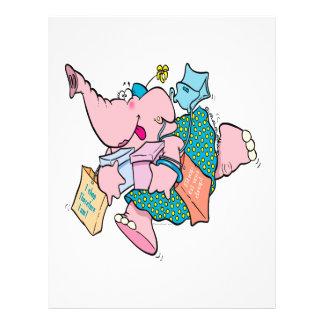cute shopaholic shopping elephant 21.5 cm x 28 cm flyer