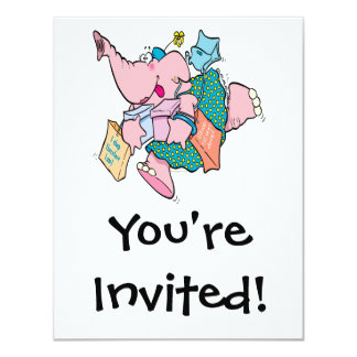 cute shopaholic shopping elephant personalized invitations