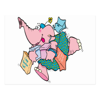 cute shopaholic shopping elephant postcard