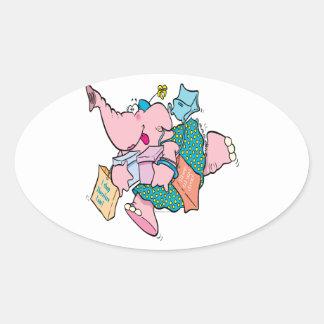 cute shopaholic shopping elephant oval stickers