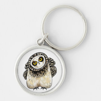 Cute Short Eared Owl Silver-Colored Round Key Ring