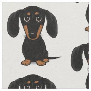 7bbf18bf1dd Cute Short Haired Black and Tan Dachshund Pattern Fabric