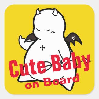Cute Shy Devil in LOVE Square Sticker