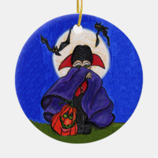 Cute Shy Little Vampire Bats Moon Christmas Ornament