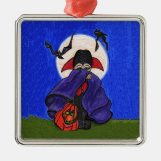 Cute Shy Little Vampire Bats Moon Silver-Colored Square Decoration