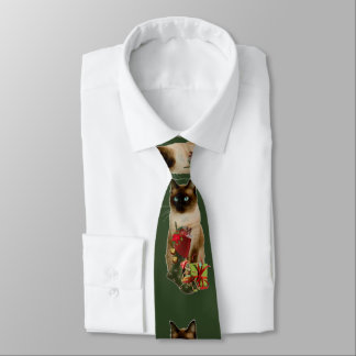 Cute Siamese Cat Christmas Tie