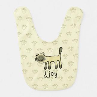 cute Siamese cat & joy doodle Baby Bibs