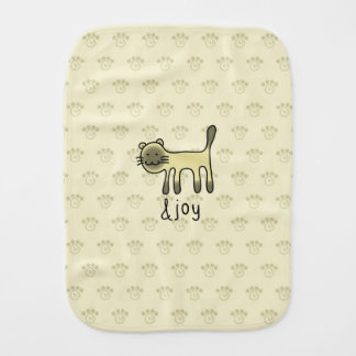cute Siamese cat & joy doodle Burp Cloth