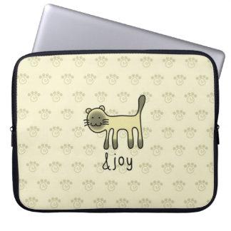 cute Siamese cat & joy doodle Laptop Sleeve