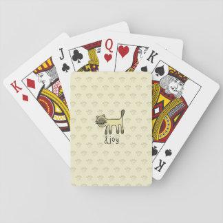cute Siamese cat & joy doodle Poker Deck
